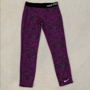 Nike Pro Purple Dri -Fit Athletic Leggings  Size L